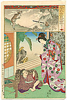 Chikanobu Toyohara 1838-1912 - Under Cover -   Nijushiko Mitate E Awase