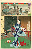 Chikanobu Toyohara 1838-1912 - Thunder Storm -   Nijushiko Mitate E Awase