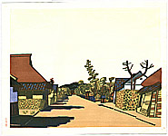 Unichi Hiratsuka 1895-1997 - Sunlit Street - View of Azuchi