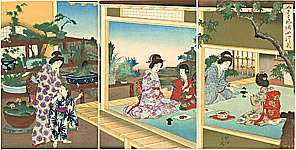 Chikanobu Toyohara 1838-1912 - Tea Party at Bonsai Garden