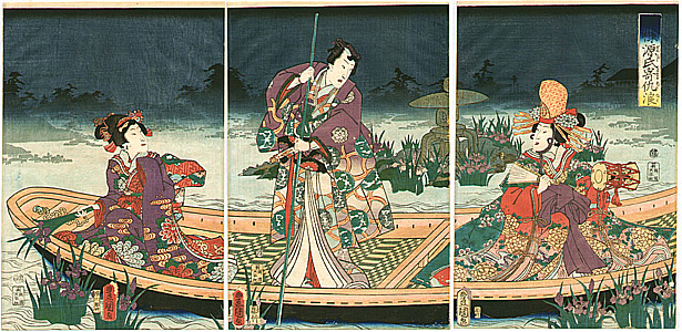 By Kunisada Utagawa - Boating at Night - Imayo Genji