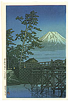 By Hasui Kawase - Mt. Fuji and Kawai Bridge