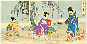 Chikanobu Toyohara 1838-1912 - Firefly Hunting - Ladies at Chiyoda Palace