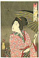 Chikanobu Toyohara 1838-1912 - Beauty and Bird - Azuma Fuzoku Nenju Gyoji