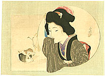 Eisen Tomioka 1864-1905 - Beauty and puppies