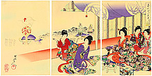 Chikanobu Toyohara 1838-1912 - Festival - Ladies at Chiyoda Palace