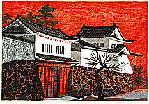 Shiro Takagi born 1934 - Castle in Red Sunset