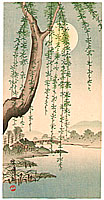 Hiroshige IV  fl.ca. 1920-30s - Moon Through Willow Branch