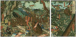 Yoshikazu Utagawa active ca.1850-70 - Battle of Kasagi Castle
