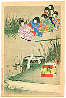 Shuntei Miyagawa 1873-1914 - Creeping Behind -  Children's Customs and Manners