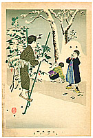 Shuntei Miyagawa 1873-1914 - Stilt - Children's Manners and Customs