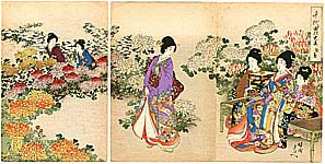 Chikanobu Toyohara 1838-1912 - Chrysanthemum Garden - Ladies of Chiyoda Palace