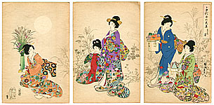 Chikanobu Toyohara 1838-1912 - Viewing the Autumn Moon - Ladies of Chiyoda Palace