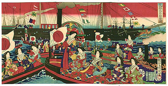 By Chikanobu Toyohara 1838-1912 - Meiji Empress and Steam Ship, 1881
