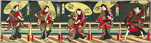 Yoshitaki Utagawa 1841-1899 - Five Famous Actors - Kabuki