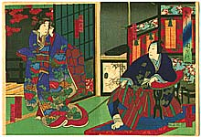 Yoshitaki Utagawa 1841-1899 - Father and Daughter - Kabuki