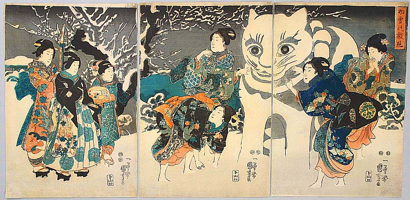 Giant Snow Cat - Kuniyoshi Utagawa 1797-1861