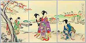 Chikanobu Toyohara 1838-1912 - Autumn Garden - Ladies of Chiyoda Palace