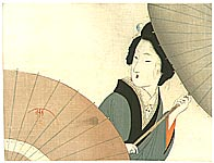 Eisen Tomioka 1864-1905 - Beauty with Umbrellas