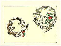Zeshin Shibata 1807-1891 - Two Wreaths  - Comparison of Flowers