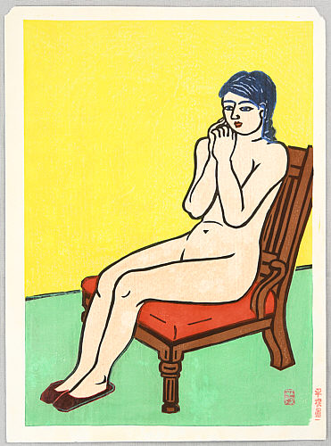 Unichi Hiratsuka 1895-1997 - Nude on a Red Chair