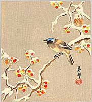 Biho Hirose active  ca. 1900-1910 - Bird on Snow Covered Berry Branch