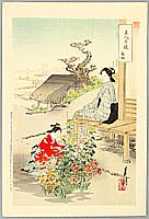 Gekko Ogata 1859-1920 - Beauties and Chrysanthemums - Comparison of Beauties and Flowers