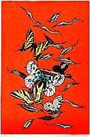 Chizuko Yoshida born 1924 - Butterflies and Leaves