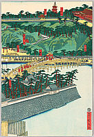 Sadahide Utagawa 1807-1873 - Emperor Travels to Hachiman Shrine