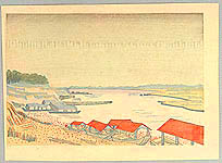 Unichi Hiratsuka 1895-1997 - Tama River in Rain