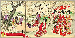 Chikanobu Toyohara 1838-1912 - Cherry Blossom Viewing - Ladies of Chiyoda Palace