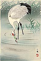 Ippo Mori 1798-1871 - Crane Fishing in Shallow Water