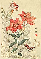 Bairei Kono 1844-1895 - Sparrow and Tiger Lilies