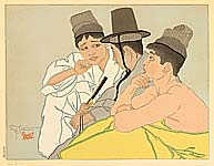 Paul Jacoulet 1902-1960 - Three Koreans, Seoul - Trois Coreens, Seoul Coree