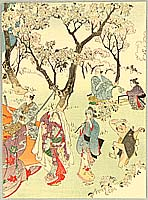 Eisen Tomioka 1864-1905 - Cherry Blossoms Viewing Party.