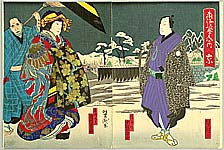 Yoshitaki Utagawa 1841-1899 - Encounter in Snow
