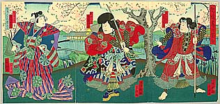 Shigehiro Shugansai active 1865-1878 - Three Samurai under Cherry Blossoms - Kabuki