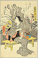 Yoshikazu Utagawa active ca.1850-70 - Smoking Beauty