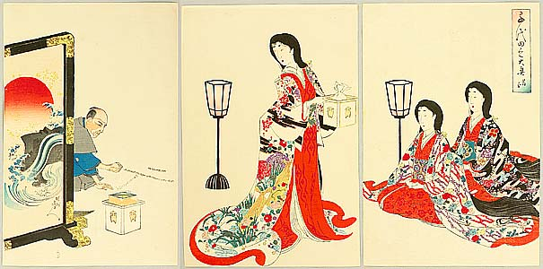 Chikanobu Toyohara 1838-1912 - Warding Off Devils - Ladies of Chiyoda Palace