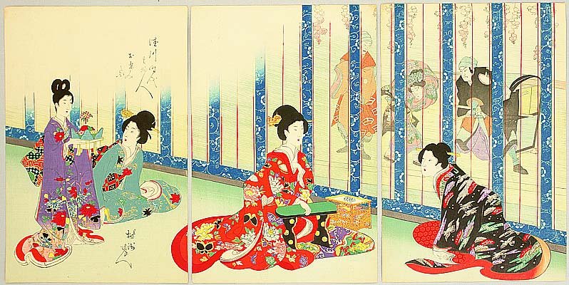 Chikanobu Toyohara 1838-1912 - Theater Performance - Court Ladies in Tokugawa Era