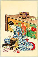 Chikanobu Toyohara 1838-1912 - Girl and Shell Game