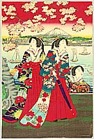 Chikanobu Toyohara 1838-1912 - Court Ladies and Mt. Fuji