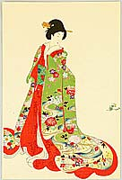Chikanobu Toyohara 1838-1912 - Court Lady in Green