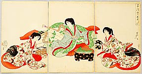 Chikanobu Toyohara 1838-1912 - Washing Hands - Ladies of Chiyoda Palace