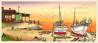 Ryusei Okamoto born 1949 - The Sea in Sunset Glow - Small Fishing Port
