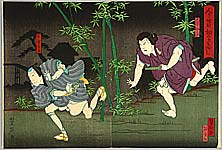 Yoshitaki Utagawa 1841-1899 - Chasing  - Kabuki