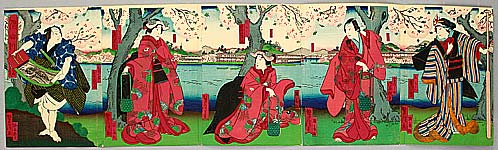 Yoshitaki Utagawa 1841-1899 - Cherry Blossoms Viewing - Kabuki