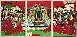 Toshimitsu Kobayashi active 1880-1900 - Fountain at Ueno Park