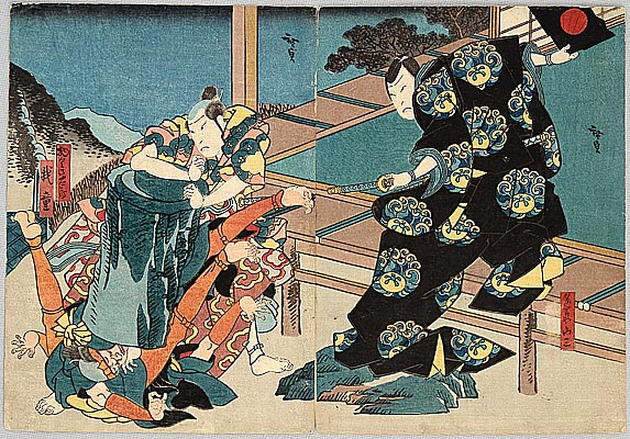 Hirosada Utagawa active ca. 1820-1860 - Putting Some Weights - Kabuki
