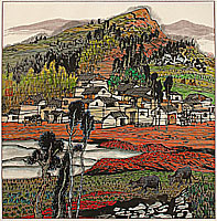 Li Ping born 1963 - Series of Red Land - The Village Beside the Stone Forest No.1